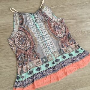Deletta Anthropologie Halter Tie Back Paisley Top